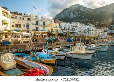 Capri, Italy - August 09, 2016: Old town on Capri island at Marina Grande port. Capri Island is popular vacations destination in Campania, Italy.