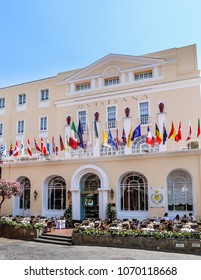 Capri, Italy - July 18, 2017: Famous Isle of Capri in Italy and the Famous Expensive Garnd Quisisana Hotel