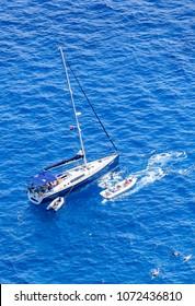 Capri, Italy - July 18, 2017: A sea yacht off the coast of the island of Capri. Italy