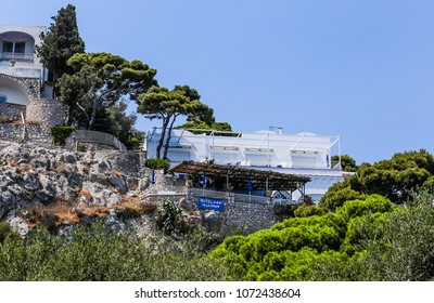 Capri, Italy - July 18, 2017: Villa Krupp Hotel in the town of Capri on Capri Island, Italy.