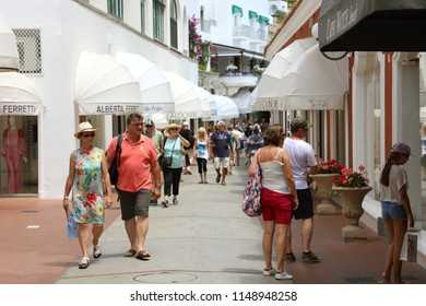CAPRI, ITALY - JULY 4, 2018: luxury boutique stores in the center of Capri Island, Italy