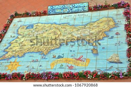 Capri Italy May 18 2013 Map Stock Photo (Edit Now