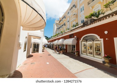 Capri, Italy - May 25, 2018: Tourists in famous Via Camerelle