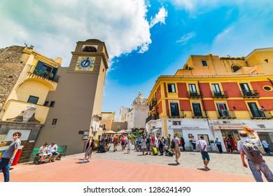 Capri, Italy - May 25, 2018: Tourists in world famous Piazzetta in Capri