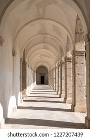 Capri, Italy, October 2018. View of the arches in the cloister at Certosa di San Giacomo, also known as the Charterhouse of St. Giacomo or the Carthusian Monastery, on the island of Capri, Italy.