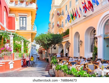 Capri, Italy - October 3, 2017: Tourists at Street cafes on Capri Island, Italy