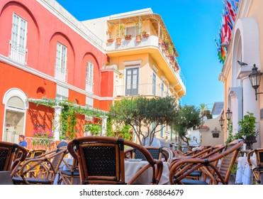 Capri, Italy - October 3, 2017: Street cafe at Capri Island, Italy