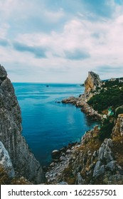 Capri, Italy. Rocks in the sea, landscape photograph.