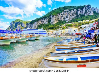 Capri, Italy - September 17 : View of the Marina Grande on the Island of Capri in Italy on a sunny day in summer on September 17, 2016. It is a famous resort located in Tyrrhenian Sea in Italy.