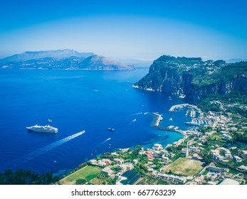 Capri town on Capri island, Campania, Italy. Capri is an island in the Tyrrhenian Sea off the Sorrentine Peninsula, on the south side of the Gulf of Naples in the Campania region of Italy.