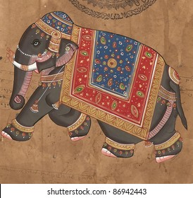 Caprisoned elephant on parade.Indian miniature painting on 19th century paper. Udaipur, India