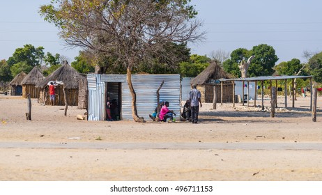 Caprivi, Namibia - August 20, 2016: Poor people busy in their village in the rural Caprivi Strip, the most populated region in Namibia, Africa.