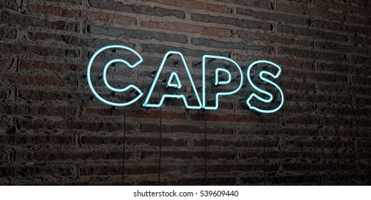 CAPS -Realistic Neon Sign on Brick Wall background - 3D rendered royalty free stock image. Can be used for online banner ads and direct mailers.