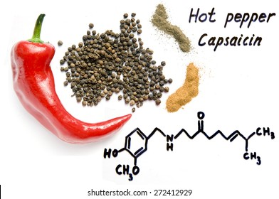 Capsaicin, the chemical formula, red and black hot pepper