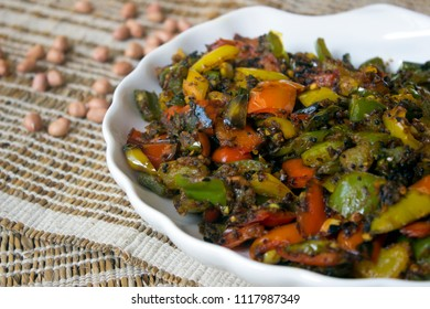Capsicum sukka is a tasty and easy three peppers fry with sukka masala.
