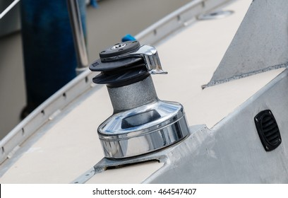 Capstan or winch on a sailing boat or yacht
