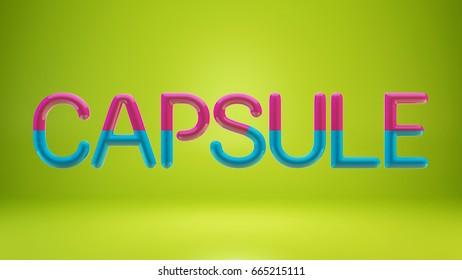 Capsule word 3D render