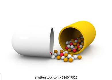 Capsules or pills on white background.3d render