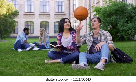Captain of basketball team flirting with beautiful biracial student relationship