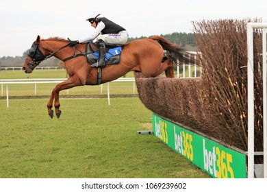 Captain Chaos (IRE) ridden by Harry Skelton & trained by Dan Skelton jump the last fence and wins the 188Bet Novices Chase : Market Rasen Racecourse, Lincs, UK : 18 February 2018 : Pic Mick Atkins