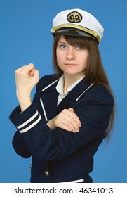 The captain of a female with emotional gesture