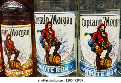 Captain Morgan bacardi rum bottles closeup in a store in Kiev, Ukraine, 15 January 2019.
