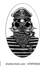 Captain Skull in a hat with a beard and a pipe