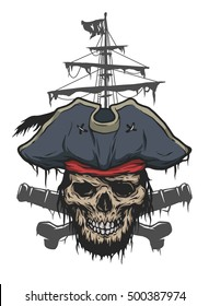 Captain skull on a background of pirate attributes. Illustration vector copy.