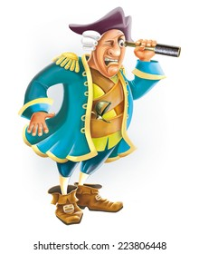 Captain Smollett cartoon character Treasure Island