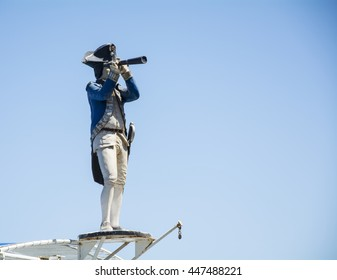 Captain statue that is looking for land