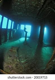 Captain's bridge of sunk wreck