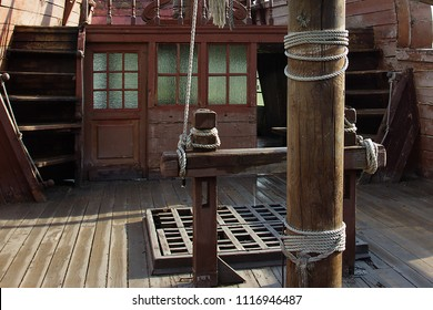 captain's cabin and deck on an old wooden ship