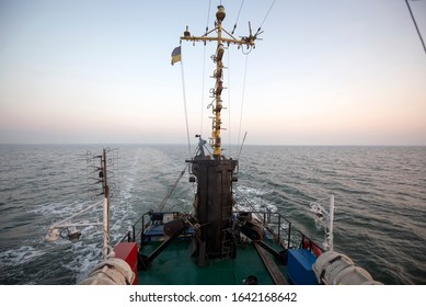 Captain's control seat on a fishing vessel. Ukraine, Sea of Azov, industrial fishing