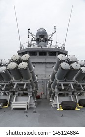 Captain's deck on a navy warship. Military vessel