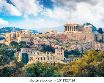 Captivatin spring view of Parthenon, former temple, on the Athenian Acropolis, Greece, Europe. Colorful morning scene in Athens. Treveling concept background. Artistic style post processed photo.