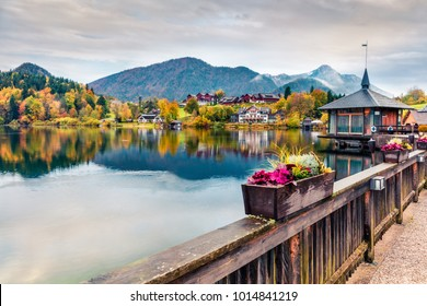 Captivating autumn sunrise on Grundlsee lake. Amazing morning scene of Brauhof village, Styria stare of Austria, Europe. Colorful view of Alps. Traveling concept background.