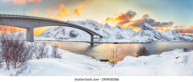 Captivating morning view of  Fredvang cantilever bridges at sunrise. Travel destination on Lofotens. Location: Ramberg, Flakstadoya island, Lofoten; Norway, Europe