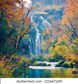 Captivating morning view of pure water waterfall in Plitvice National Park. Amazing autumn scene of Croatia, Europe. Abandoned places of Plitvice lakes series. Beauty of nature concept background.