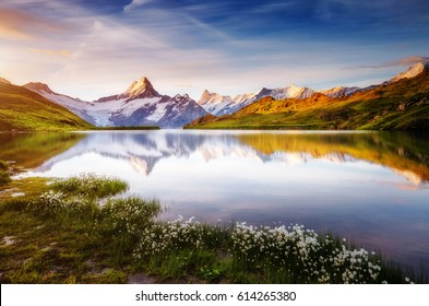 Captivating scene of the snow rocky massif. Picturesque day. Location place Bachalpsee in Swiss alps, Grindelwald, Bernese Oberland, Europe. Wonderful image of wallpaper. Explore the world's beauty.