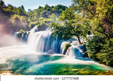 Captivating summer view of Skradinski Buk  waterfall. Exotic morning scene of Krka National Park, Lozovac village location, Croatia, Europe. Beautiful world of Mediterranean countries.