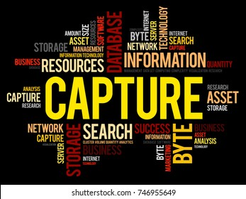 Capture word cloud collage, business concept background