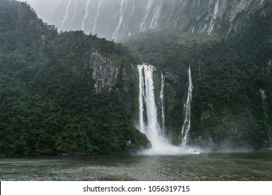 captured from balcony of Cruise ship, in Milford Sound, New Zealand