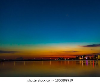 Captured beautiful and amazing colours of sunset at waterfront Woodland,Singapore