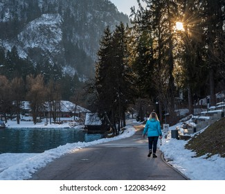 capturing the moment the sun passes through the trees whilst walking around the beautiful Lake Bled in Slovenia