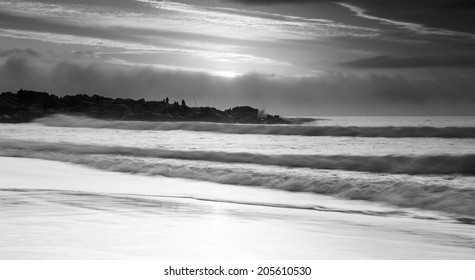 Capturing the motion of the water in black and white on an overcast day