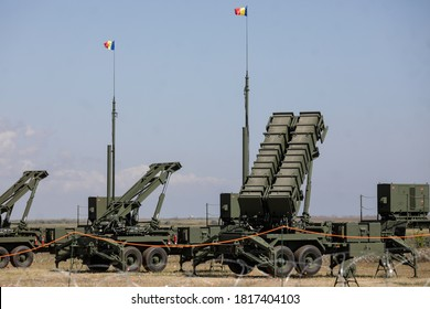 Capu Midia, Romania - September 17, 2020: The Patriot surface-to-air missile system of the Romanian Army at the National Training Center for Air Defense.