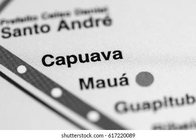 Capuava Station. Sao Paolo Metro map.