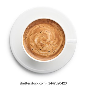 Capuccino coffee in cup isolated on white background, top view