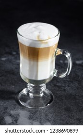 Capuccino latte coffee gray background