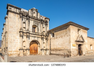 Capuchin church and cloister in the streets of Antigua Guatemala